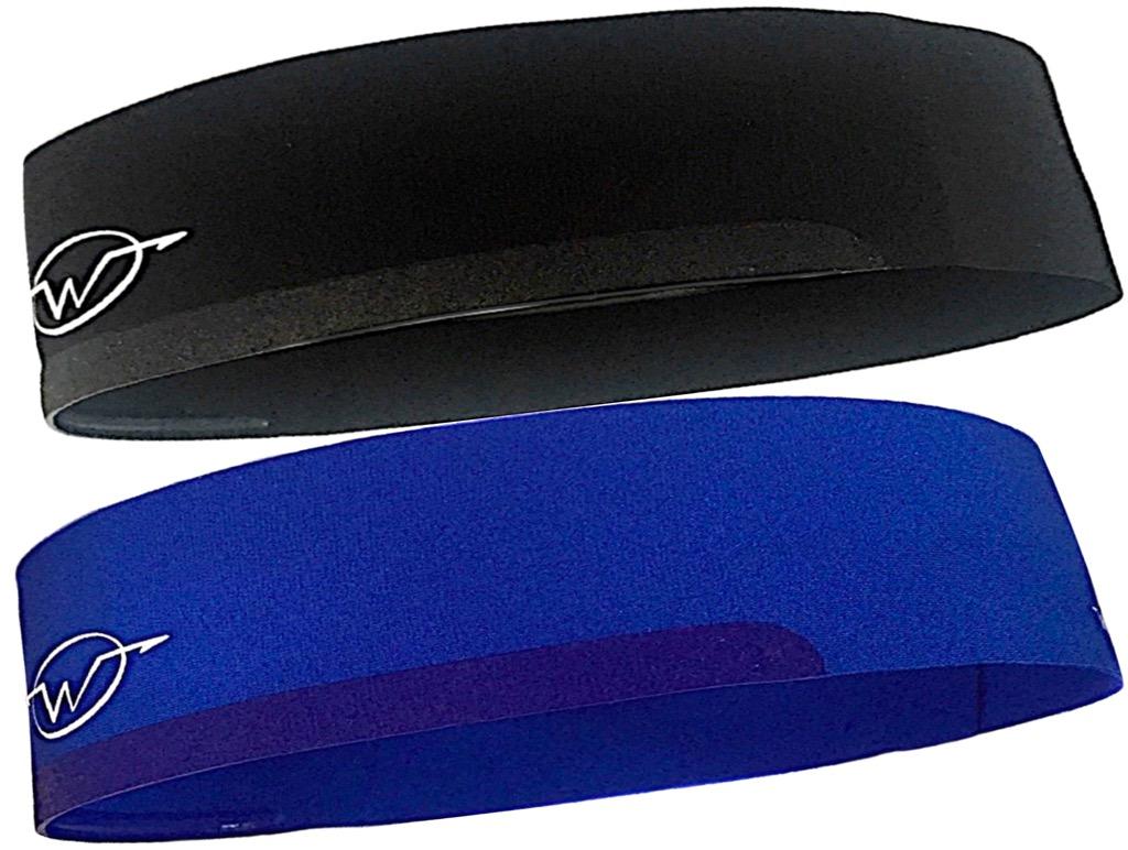 2-Pack Black/ Blue Performance Headbands