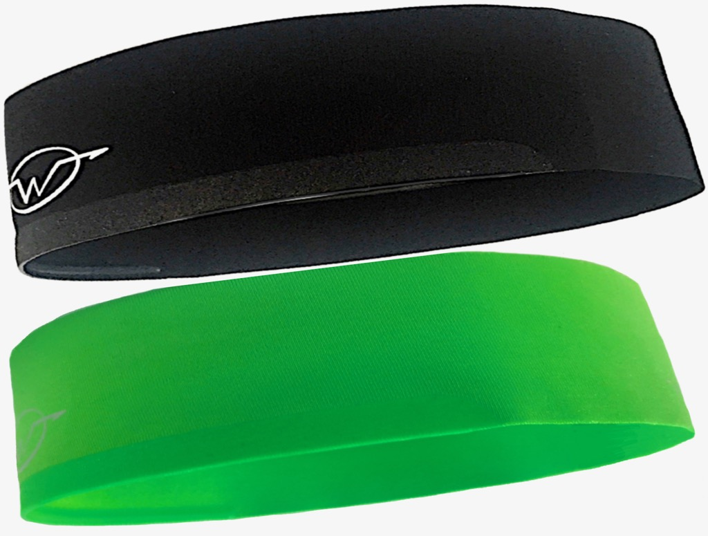 2-Pack Black/ Green Performance Headbands
